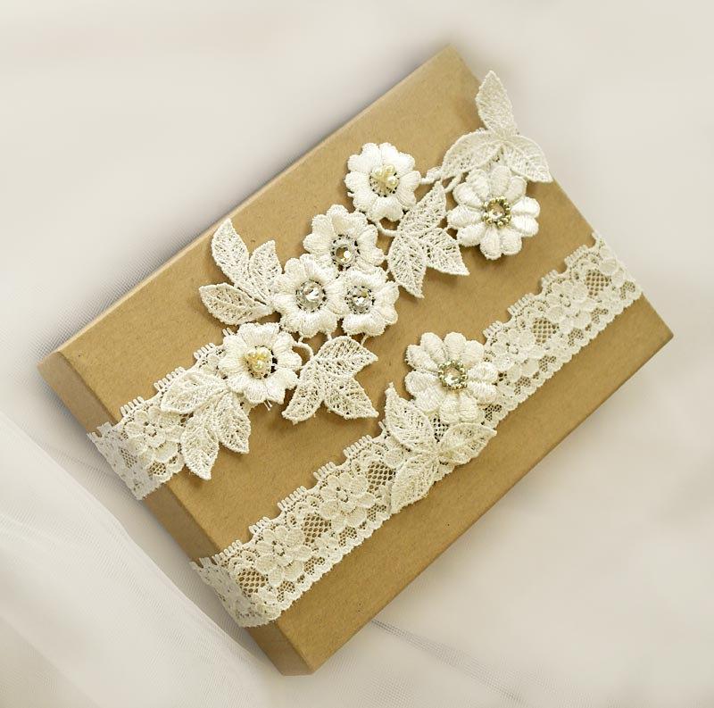 Wedding - Light Ivory  Lace Wedding Garter Set ,Pearl,Rhinestone Lace Garter Set, Toss Garter , Keepsake Garter ,Customizable Handmade-GT036