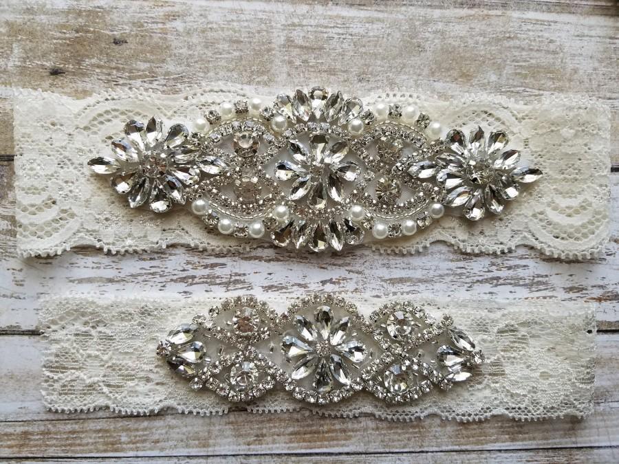 Свадьба - Sale -Wedding Garter and Toss Garter-Crystal Rhinestone Garter Set  - Style G28822