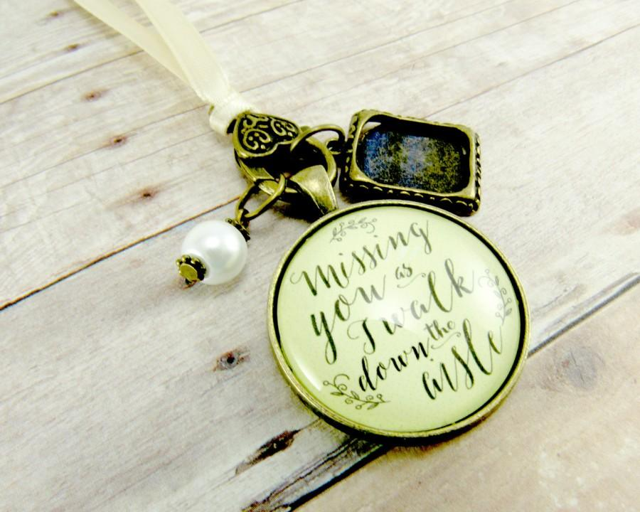 Свадьба - Customized Wedding Bouquet Memory Charm Missing You As I Walk Down the Aisle, Bridal Pendant Memorial Remembrance Photo Jewelry Family Charm