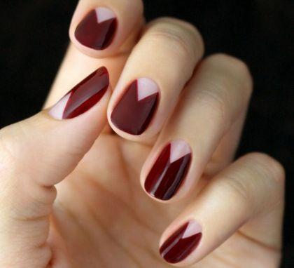 زفاف - Burgundy Nail Art