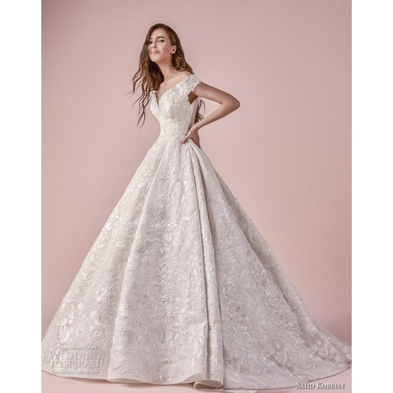 Saiid Kobeisy 2018 Short Sleeves Ball Gown Off-the-shoulder Chapel ...
