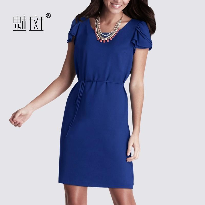 Mariage - 2017 summer new women career women temperament major code puff sleeve frock in blue - Bonny YZOZO Boutique Store