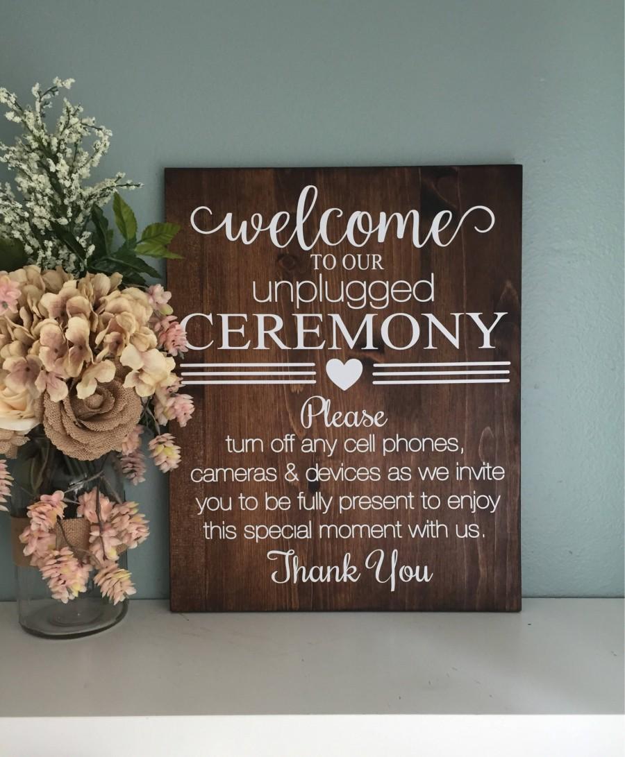 Mariage - Unplugged Ceremony Sign / Wood Wedding Welcome Sign / Rustic Wood Unplugged Wedding Sign /  Rustic Wedding Decor / Country Wedding