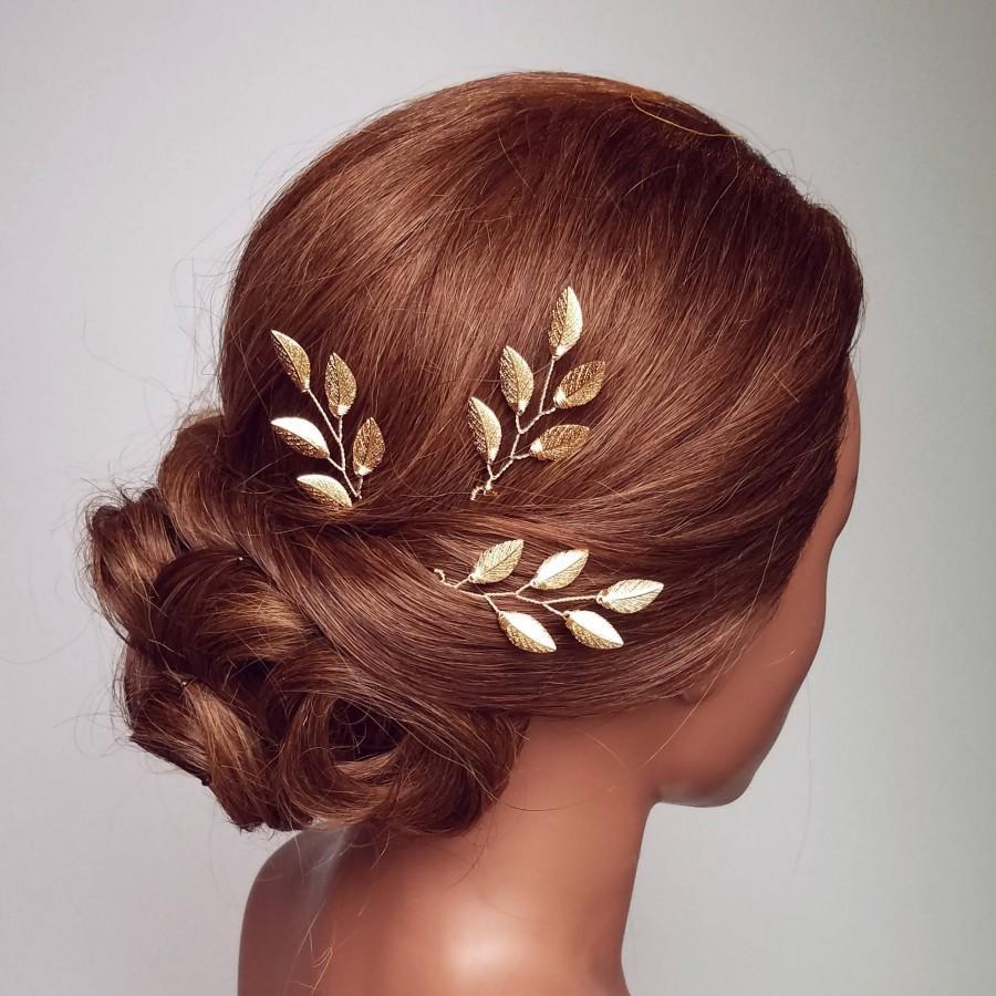 Mariage - Gold Leaf Hair Comb, Gold Hair Pin Vine, Leaf Bridal Hair Vine, Bridal Hair Piece, Wedding Hairpiece, Gold Leaf Head Piece, Gold Hair Comb