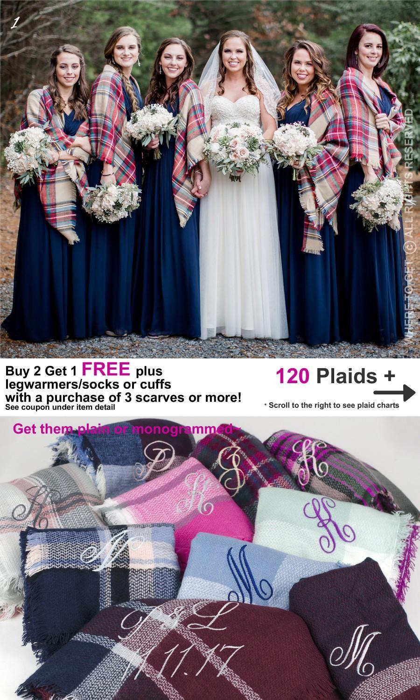 Mariage - Blanket scarf bridesmaid, Bridesmaid gift, fall wedding wrap, bachelorette gift, bridal throw, bridesmaid shawl, monogrammed bridesmaid wrap