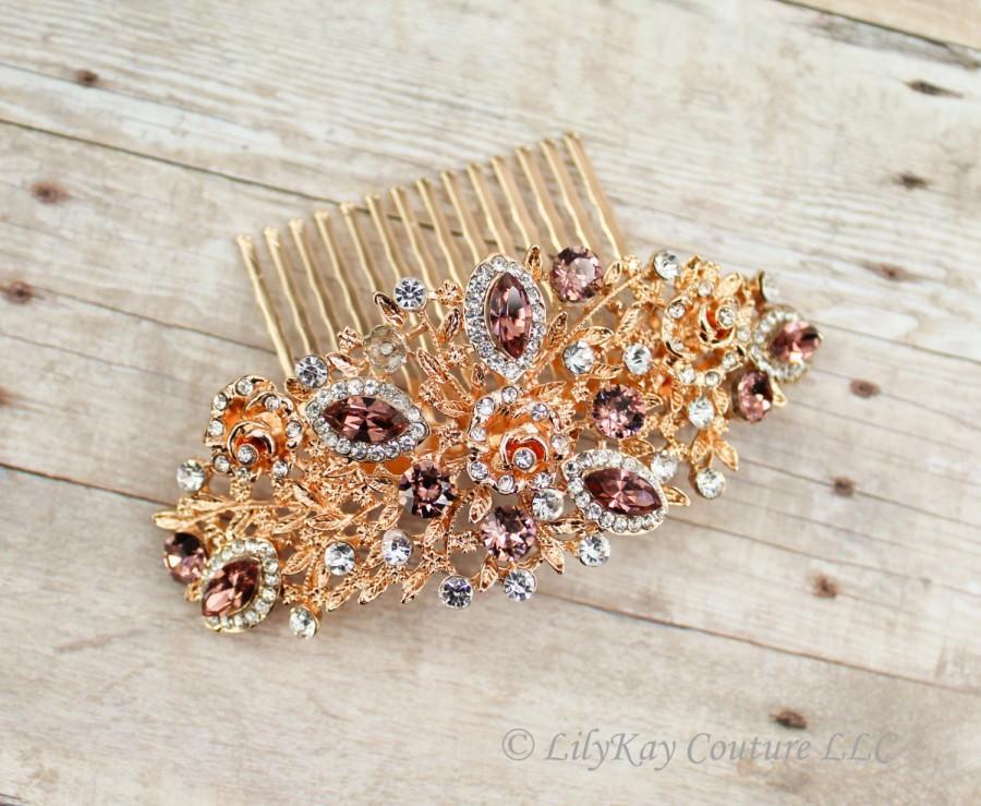 Свадьба - Rose Gold Bridal Comb Wedding Hair Comb Rose Gold Bridal Jewelry Bridal Hair Accessories Rose Gold Hair Comb Blush Pink Bridal Jewelry