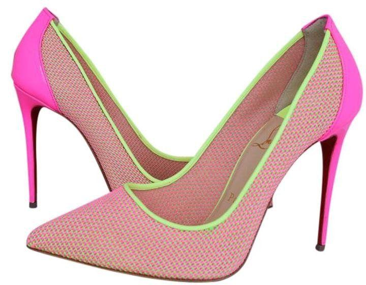 Wedding - Christian Louboutin Pigalle Follies 100 Lace Mesh Pink Yellow Knitted Pumps Shoes Pump