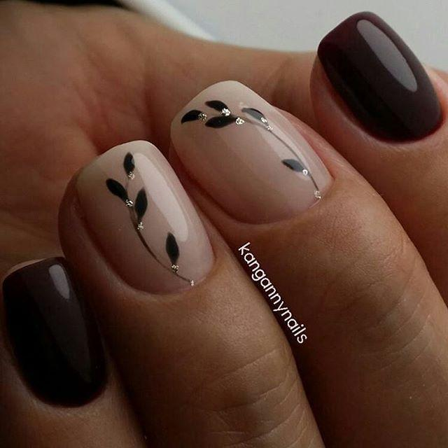 Nagel - Leaf And Jeweled Nail Art #2786839 - Weddbook