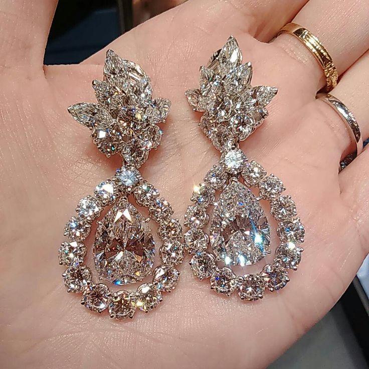 Hochzeit - Diamond Drop Earrings