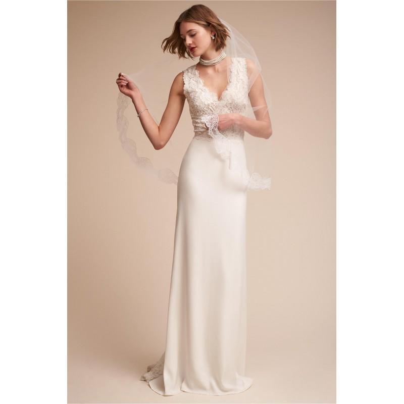 Mariage - BHLDN 2017 Andora Satin Appliques Elegant Sheath Sleeveless V-Neck Sweep Train Ivory Bridal Gown - Customize Your Prom Dress