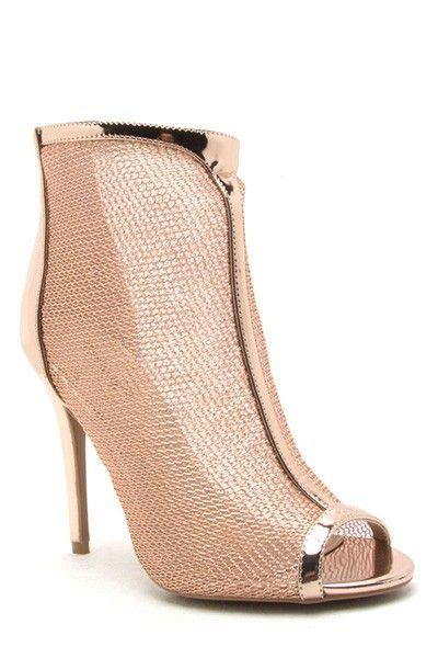 Свадьба - Rose Gold Mesh Ankle Boots