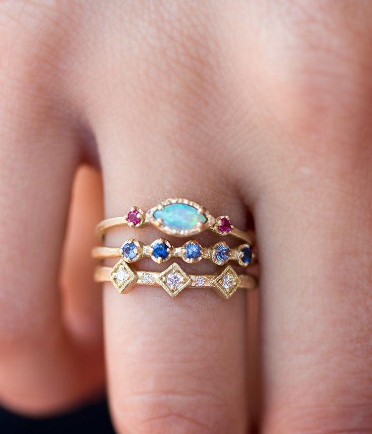 زفاف - 18k Opal Ruby Trio