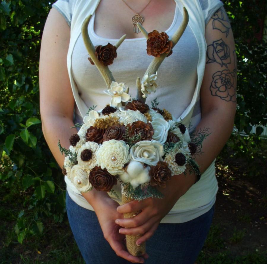 Mariage - Deer antler bridal bouquet