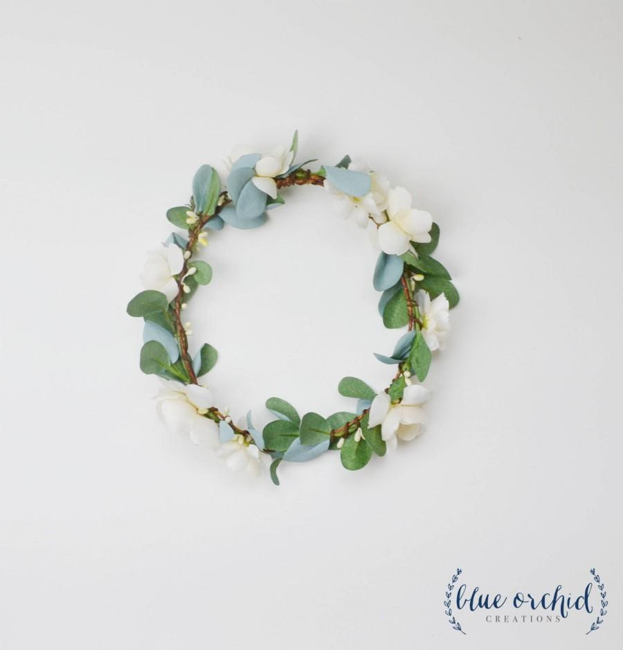 Mariage - Flower Crown, Boho Wedding, Green Flower Crown, Ivory, Floral Crown, Eucalyptus Crown, Flower Hair Accessory, Wedding Crown, Eucalyptus