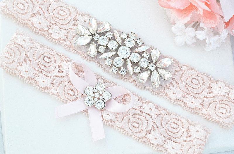 Hochzeit - BLUSH PINK Crystal pearl Wedding Garter Set, Stretch Lace Garter, Rhinestone Crystal Bridal Garters
