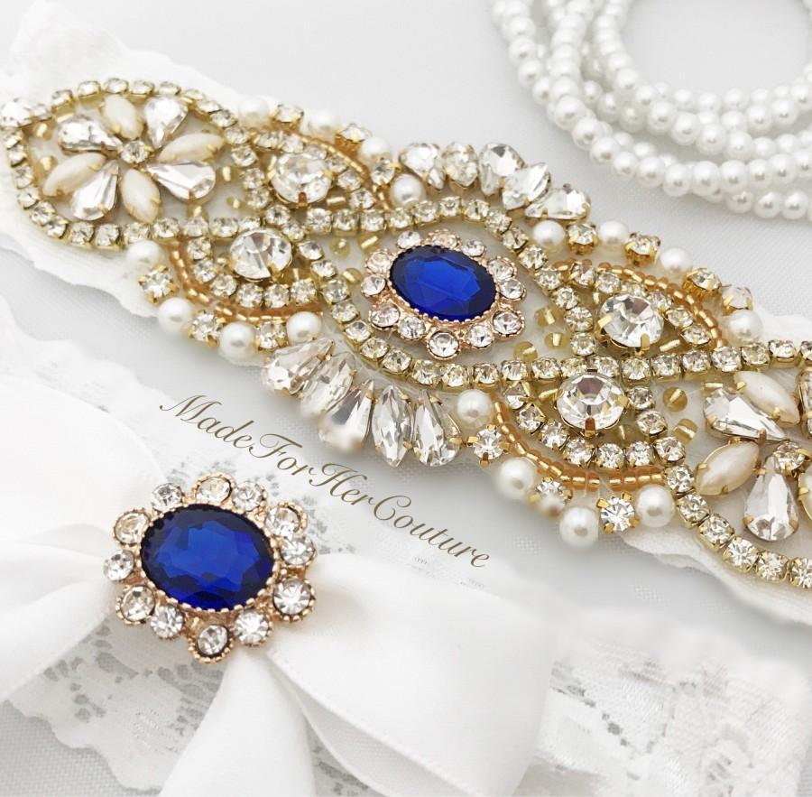 Hochzeit - Gold & Blue Wedding Garter, Bridal Garter Set, Gold Garter Set, Crystal Pearl Garter, Wedding Garter Set Wedding Garter Belt- Something Blue