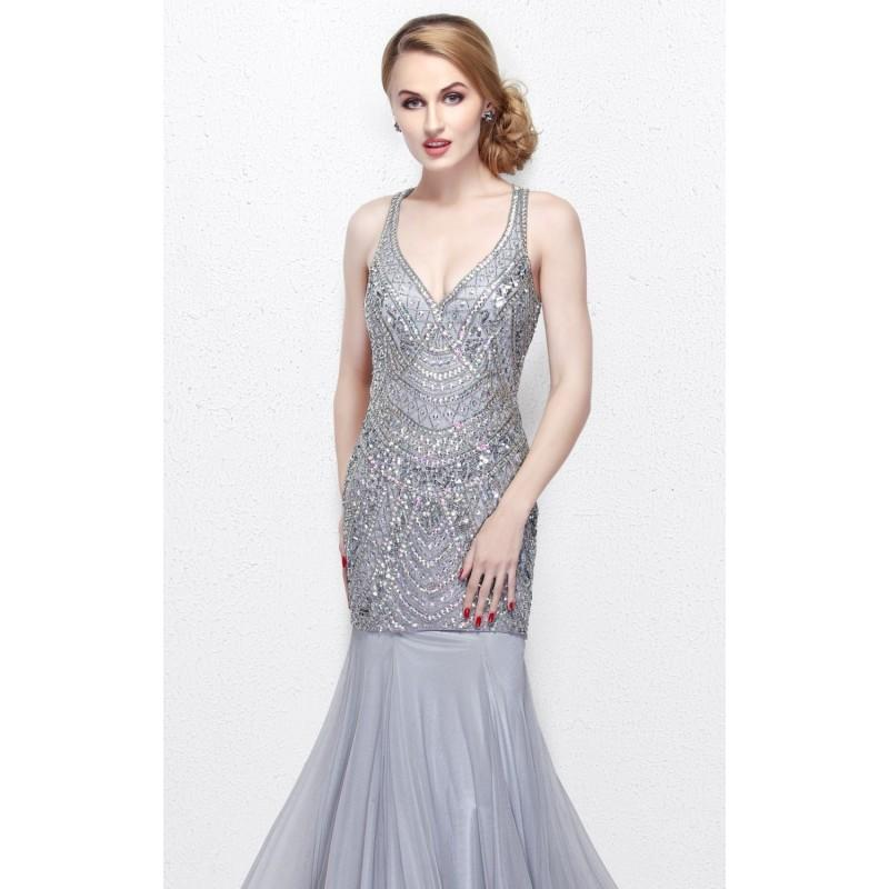 Wedding - Platinum Beaded Mermaid Gown by Primavera Couture - Color Your Classy Wardrobe