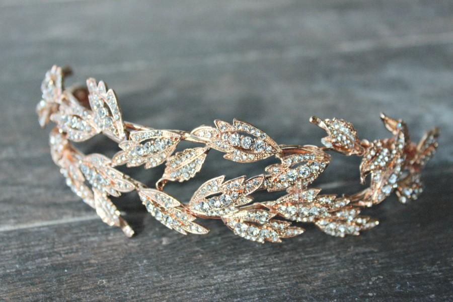 Wedding - Rose Gold Tiara Crown -  ALESIA Rose Gold Swarovski Crystal Leaf Tiara Gold Leaves Bridal Headpiece, Gold Leaves Headpiece, Gold Lady Mary