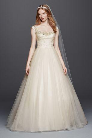 Hochzeit - Oleg Cassini Embellished Tulle Wedding Dress Style CWG733