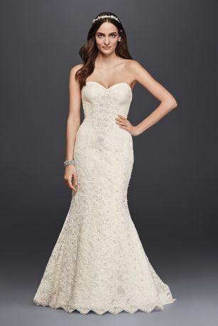 Wedding - Oleg Cassini Strapless Lace Trumpet Wedding Dress Style CRL277