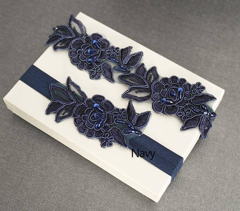 Свадьба - Royal Blue,Navy Beaded Lace Wedding Garter Set , Embroidery  Garter Set, Toss Garter , Keepsake Garter ,Customizable Handmade-GT033
