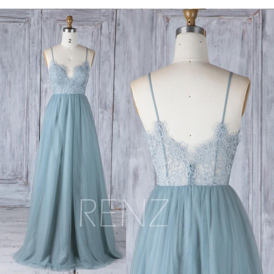 Bridesmaid Dress Dusty Blue Tulle Wedding Dress,Illusion Lace Prom ...