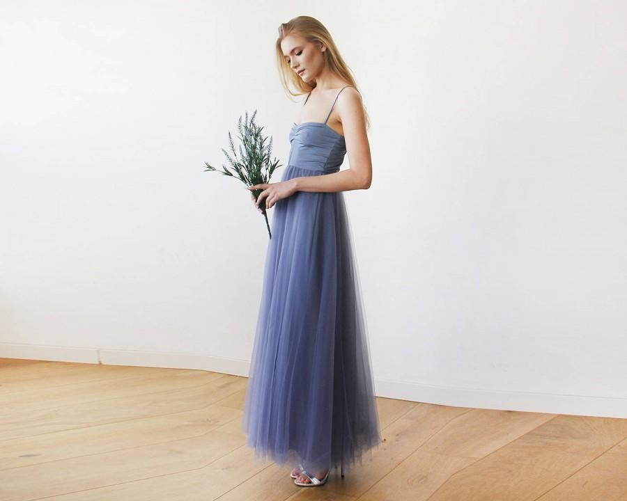 زفاف - Dusty Blue Maxi Ballerina Tulle Dress 1061