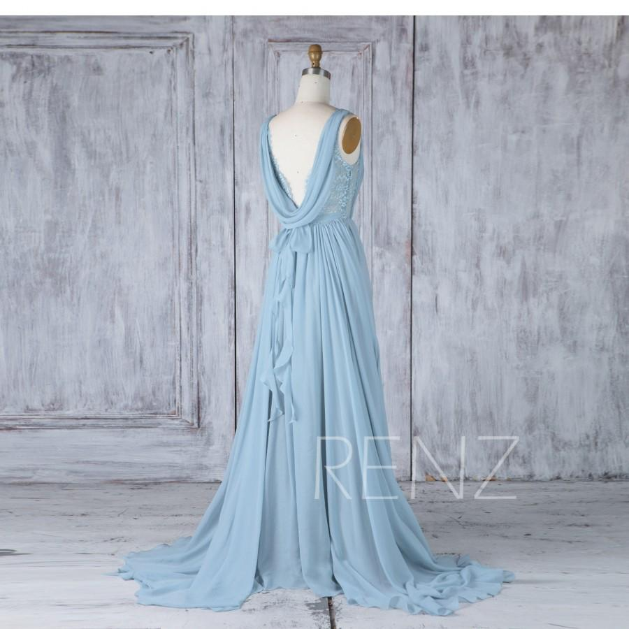 زفاف - Bridesmaid Dress Dusty Blue Chiffon Wedding Dress,Illusion Lace Boat Neck Ruched Maxi Dress,Ruffle Cowl Back Prom Dress Full Length(H537)