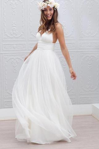 Wedding - Long Simple Beach Wedding Gowns,Sexy Spaghetti Straps Backless Wedding Dresses,SVD532