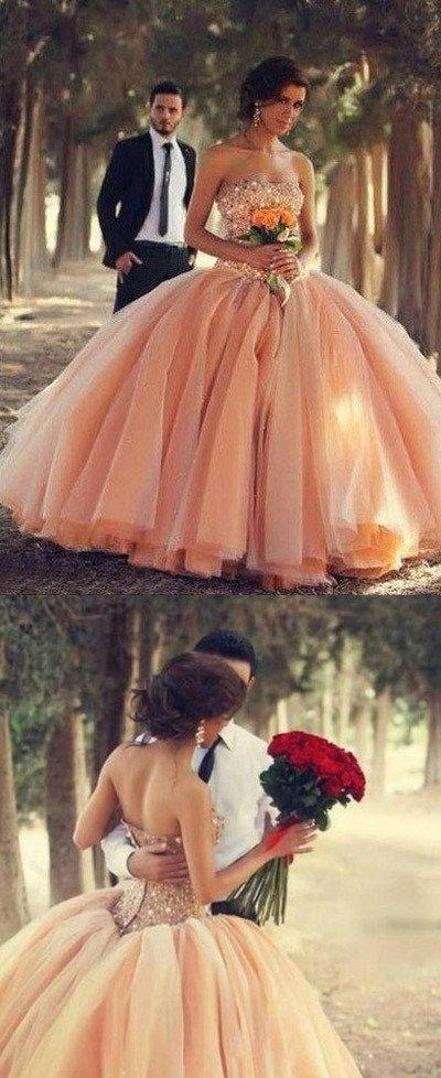 Свадьба - Blush Pink Tulle Wedding Dresses Ball Gown Sweetheart Bridal Gowns With Rhinestones Quinceanera Dresses