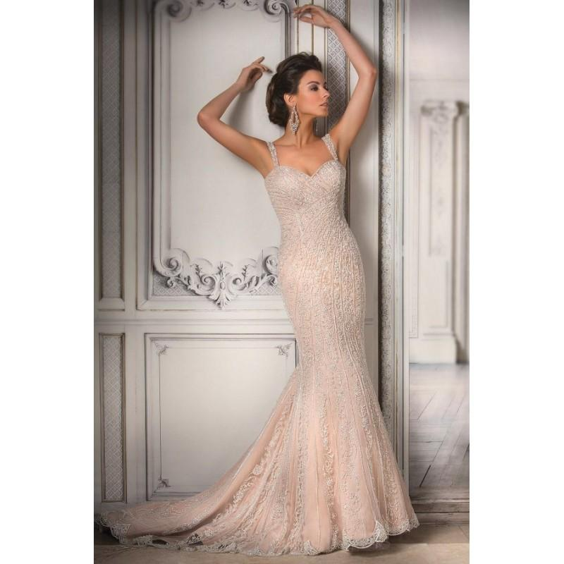 Hochzeit - Style T172066 by Jasmine Couture - Ivory  Blush Beaded Low Back Floor Sweetheart  Straps Wedding Dresses - Bridesmaid Dress Online Shop