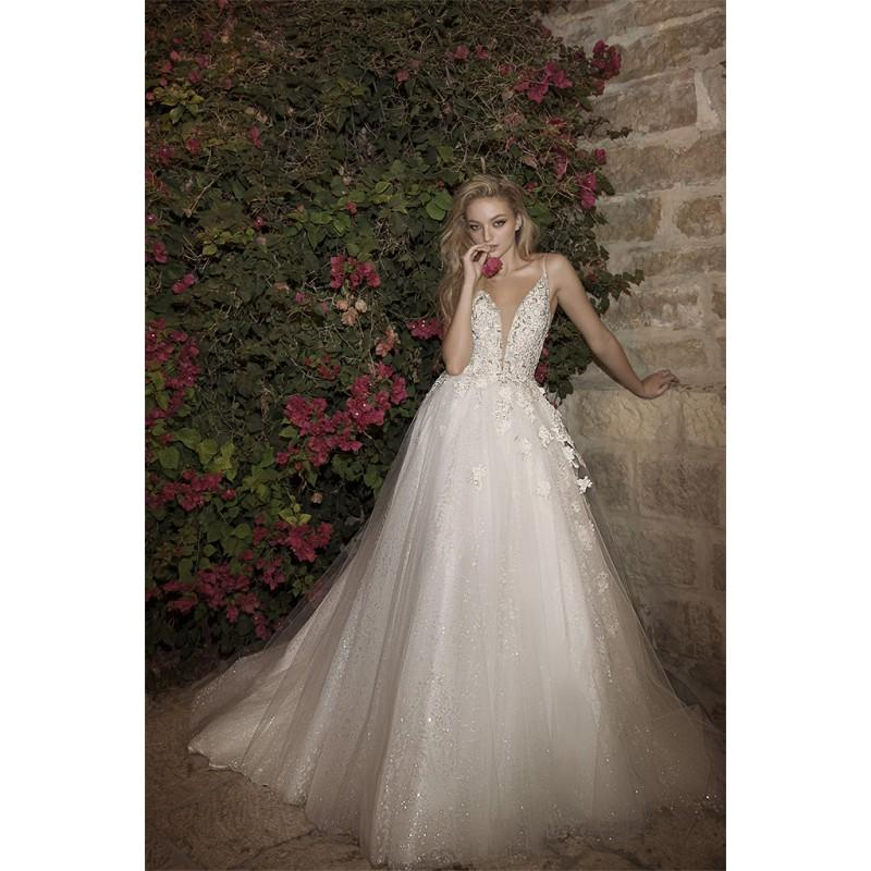 Свадьба - Dany Mizrachi Spring/Summer 2018 DM04/18 S/S Spaghetti Straps Sleeveless Ball Gown Champagne Chapel Train Tulle Bridal Dress - Crazy Sale Bridal Dresses