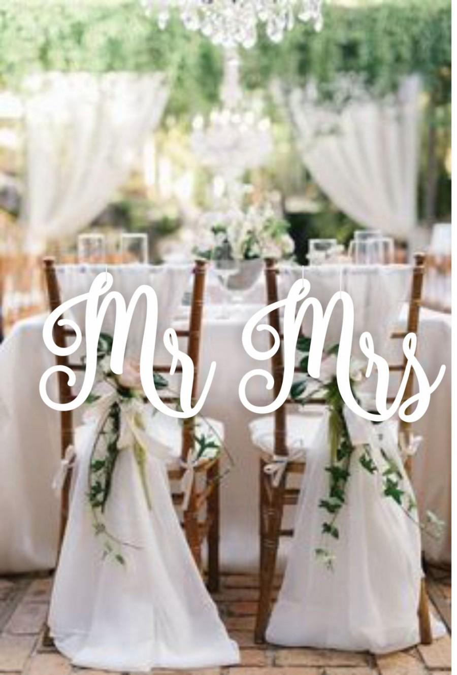 Свадьба - Wedding Decor.Chair Signs. Mr and Mrs  Chair Signs.