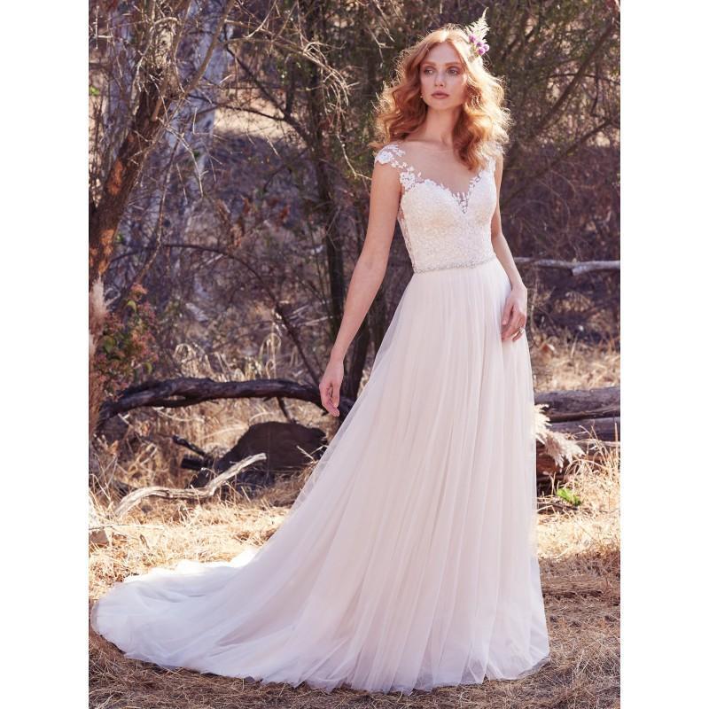Wedding - Maggie Sottero Fall/Winter 2017 Sonja Sweet Ivory Chapel Train Aline Cap Sleeves Illusion Tulle Appliques Wedding Dress - Fantastic Wedding Dresses