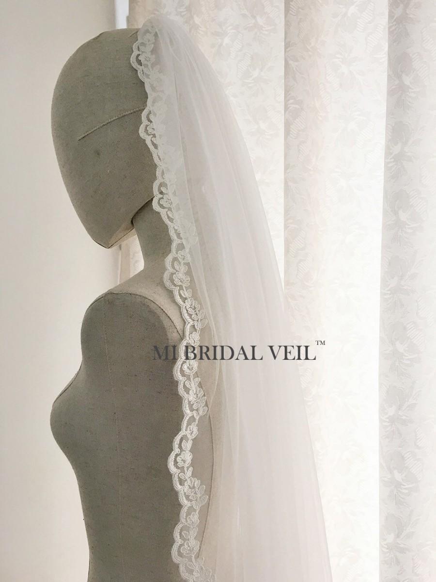 Mariage - Lace Wedding Veil, Bridal Veil Lace, 1 Tier Fingertip Lace Veil, Custom Veil, Mi Bridal Veil