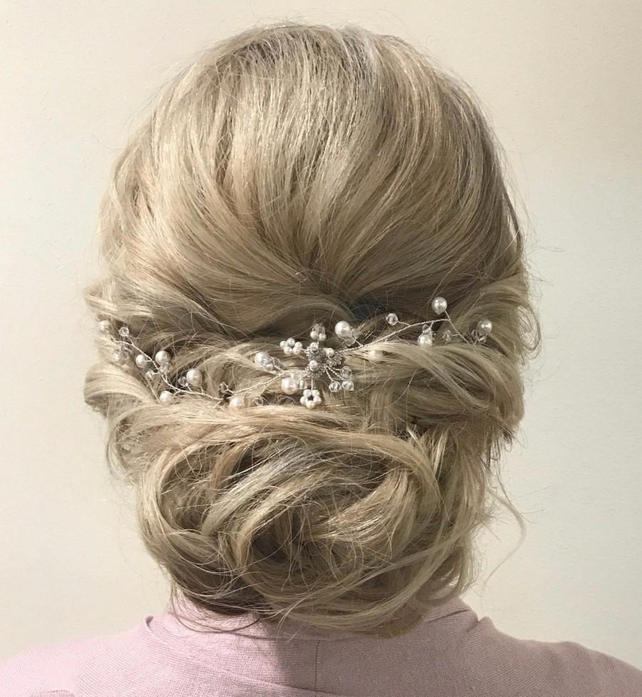 Свадьба - Wedding Hair Piece Pearl Wedding Hair Vine Bridal Hair Piece Pearl Bridal Hair Vine, Bridal Head Piece Pearl Hair Vine Pearl and Crystal TIA