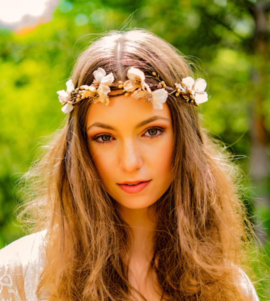 Bridal gold headdress hair wreath headpiece flower crown fall winter bridal gold headdress hair wreath headpiece flower crown fall winter halo destination wedding accessories renaissance festival metallic izmirmasajfo