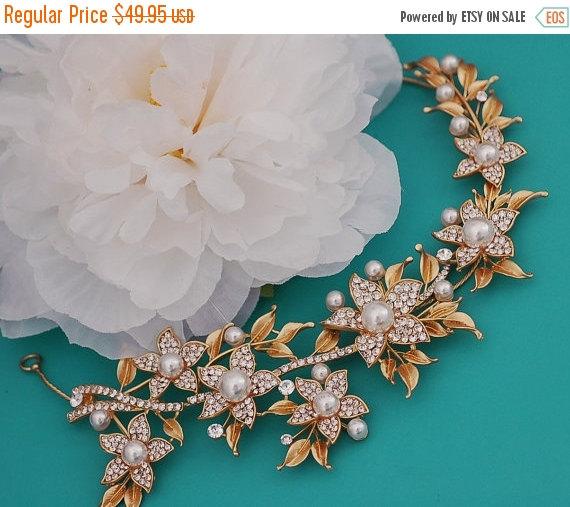 Свадьба - GOLD Bridal Headband Vine Crystal Pearl Headpiece Bride Hair Piece Head Band Weddings Accessories Wedding Party Weddings Accessory Jewelry