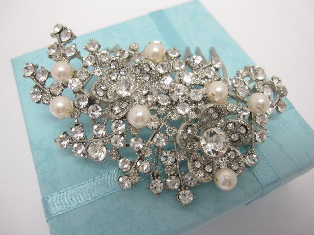 Свадьба - Bridal hair comb pearl Wedding hair piece Wedding hair comb Pearl hair comb vintage Wedding hair jewelry Bridal hair accessories Bridal comb