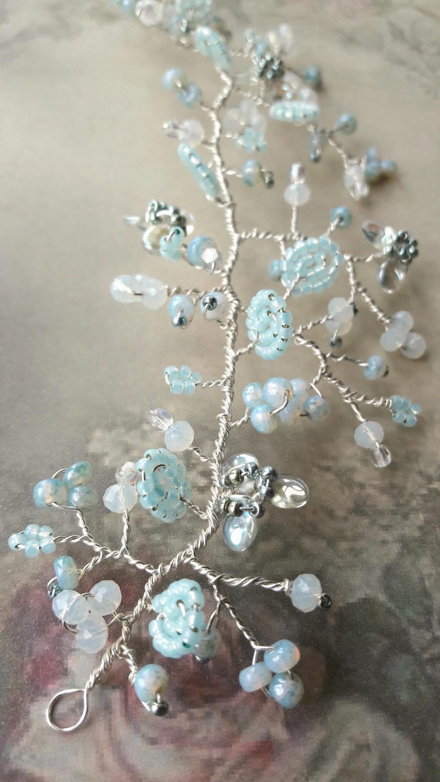 Свадьба - Aqua mint green crystal flower wedding hair vine, Bridal hairpiece, Bridesmaid headdress, Hair vine accessory, Romantic wedding