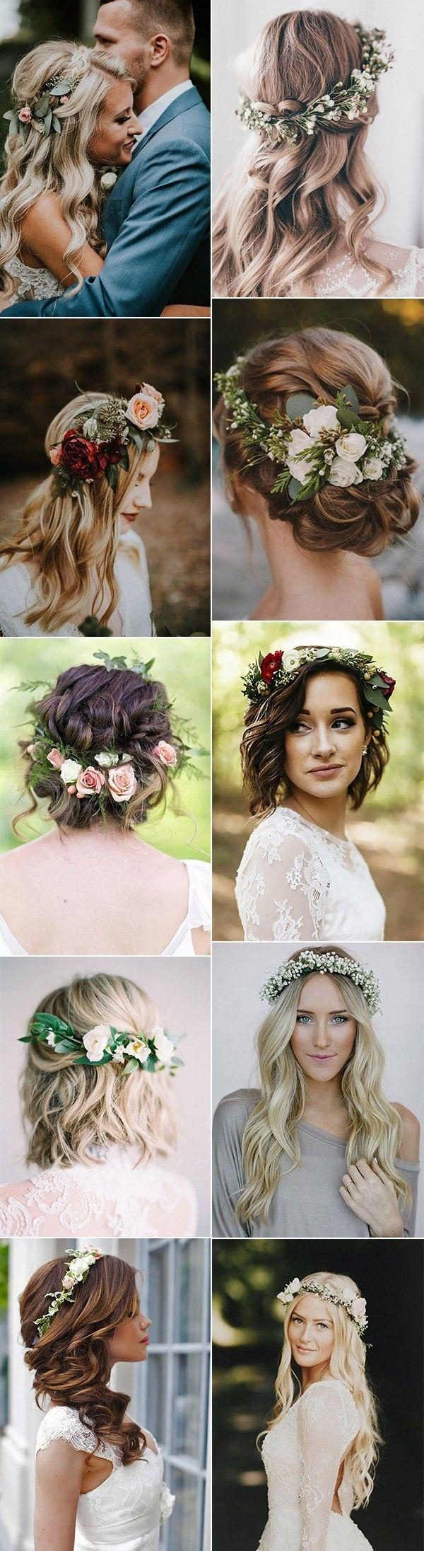 Mariage - 18 Gorgeous Wedding Hairstyles With Flower Crown