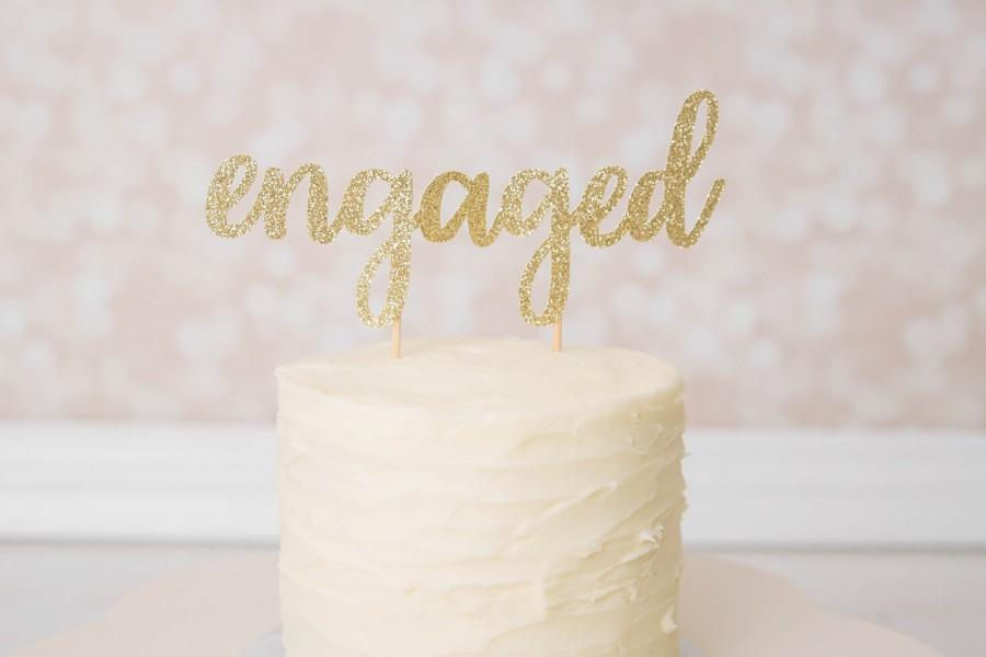 Mariage - Engaged Cake Topper - Glitter - Engagement Party. Bachelorette Party. Bridal Shower. Engagement Photo Prop. Miss to Mrs. Bride to Be.