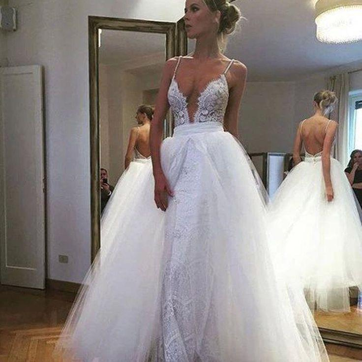 Hochzeit - Sexy Summer Convertible Spaghetti Straps Full Lace Deep V-Neck Backless Over Tulle Skirt Wedding Dresses. DB0002