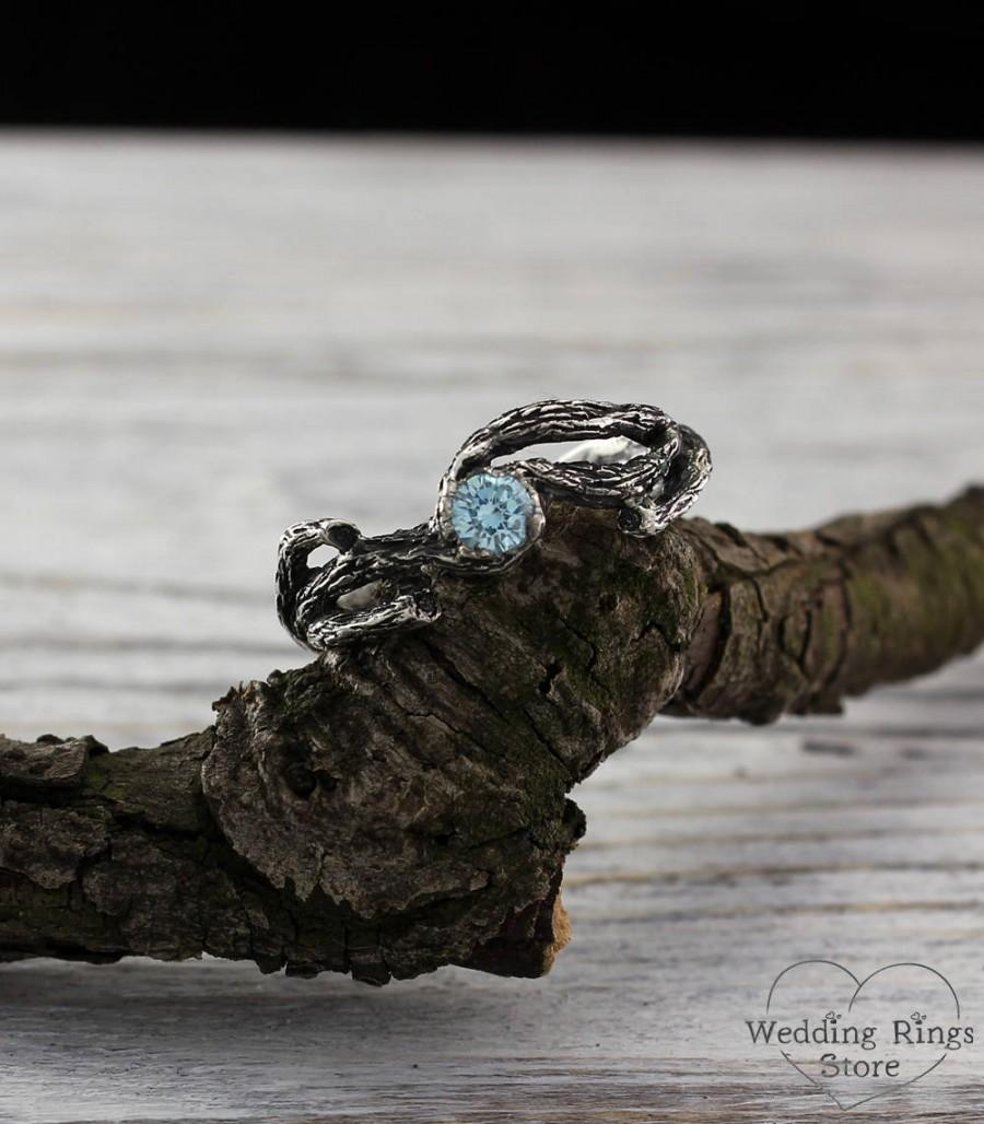 Mariage - Topaz unique twig engagement ring, Branch topaz ring, Tree engagement ring, Silver tree ring, Topaz engagement ring, Nature engagement ring