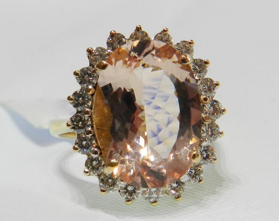 Свадьба - Morganite Engagement Ring 14K Gold 4.85 Ct Morganite Diamond Halo Ring Vintage Morganite Ring