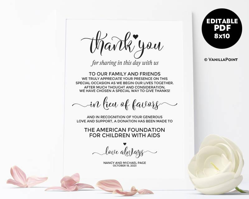 In Lieu Of Favors Sign Wedding Donation Sign Wedding Donation Favor