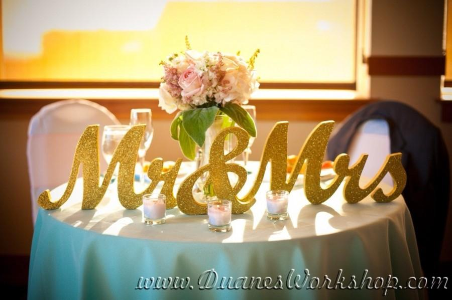 """Mariage - 8"""" Wooden Mr and Mrs Wedding sign, Gold and Silver Glitter, Wedding Decor, Wedding, Mr & Mrs"""