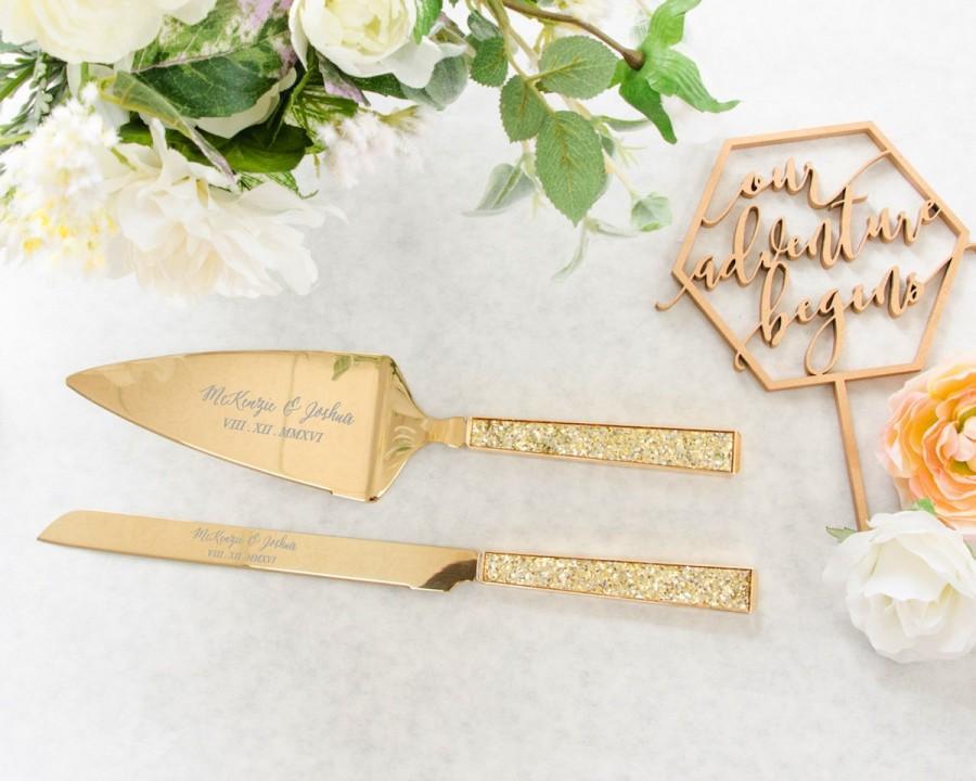 9ec10b631c93 Personalized Kate Spade Simply Sparkling Gold Wedding Cake Knife and Server  Set (2 PC) Custom Engraved Cake Server Set, Anniversary Gift