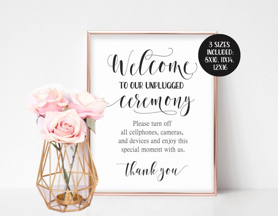 Mariage - Unplugged Wedding Sign, Unplugged Ceremony Sign, Unplugged Sign, Large Welcome Sign, Wedding Welcome Sign Printable, No Camera Sign No Photo