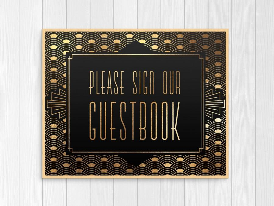 Mariage - guest book sign, printable wedding guest book sign, art deco guest book sign, gatsby wedding decor, black and gold, digital